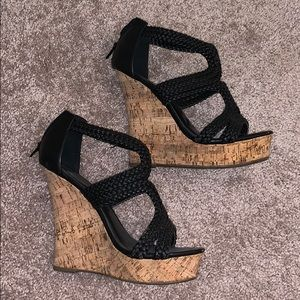Blair braided cork wedges